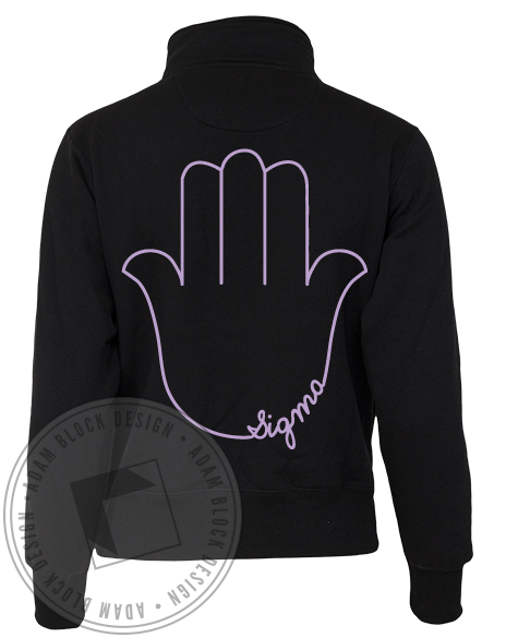 Sigma Alpha Epsilon Pi Hamsa Long Sleeve Half Zip-gallery-Adam Block Design