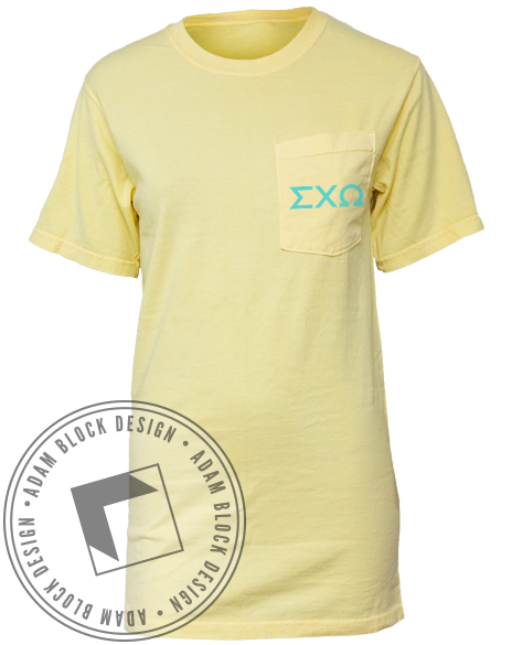 Sigma Chi Omega Palm Tree Pocket Tee-Adam Block Design