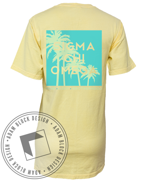 Sigma Chi Omega Palm Tree Pocket Tee-gallery-Adam Block Design