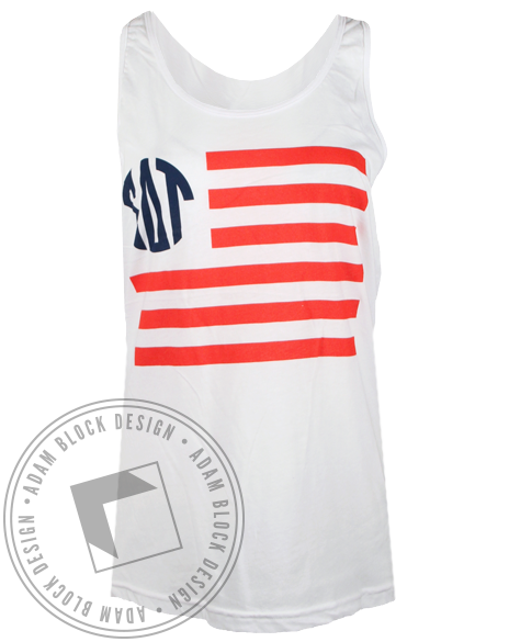 Sigma Delta Tau American Flag Tank Top-Adam Block Design