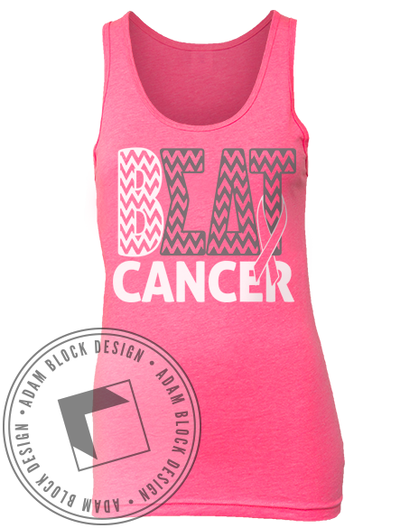 Sigma Delta Tau Beat Cancer Pink Tank-Adam Block Design