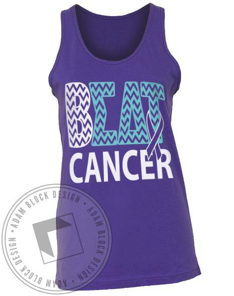 Sigma Delta Tau Beat Cancer Purple Tank-Adam Block Design