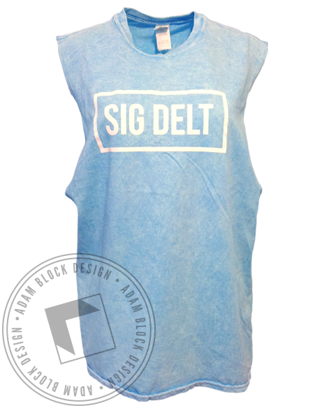 Sigma Delta Tau Box Custom Cut Muscle Tank Top-Adam Block Design