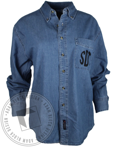 Sigma Delta Tau Chambray Button Up Long Sleeve Shirt-Adam Block Design