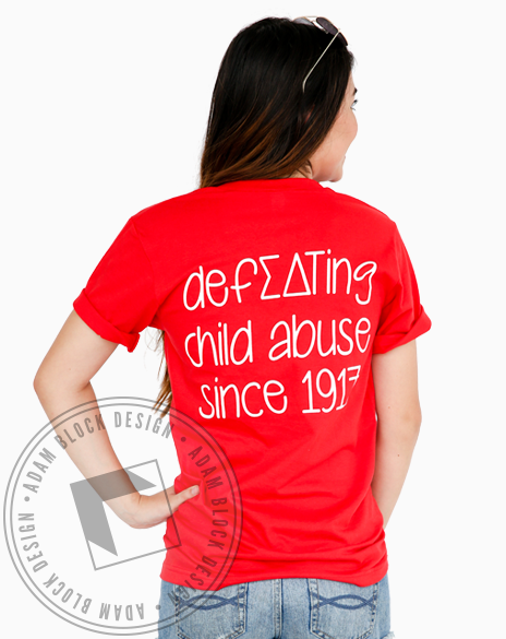 Sigma Delta Tau Defeating Child Abuse V-neck Tee Shirt-Adam Block Design