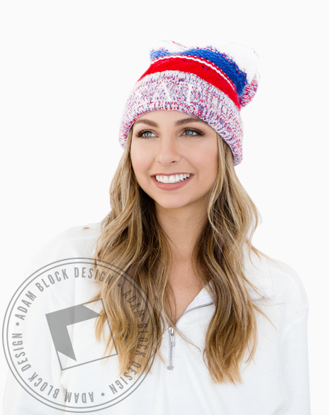 Sigma Delta Tau Embroidered Beanie-Adam Block Design