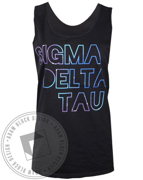 Sigma Delta Tau Galaxy Letters Tank Top-Adam Block Design