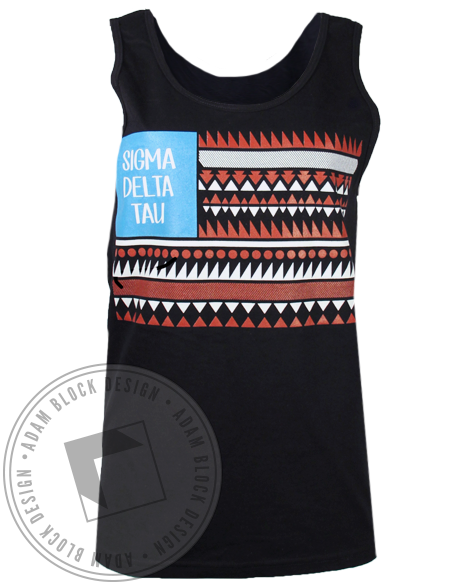 Sigma Delta Tau Geo Flag Tank Top-Adam Block Design