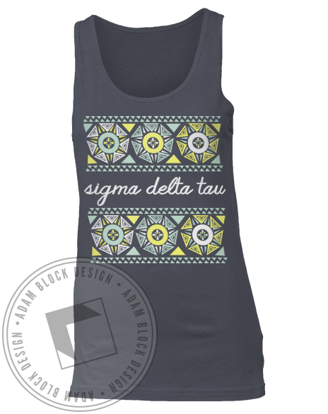 Sigma Delta Tau Geometric Floral Tank Top-Adam Block Design