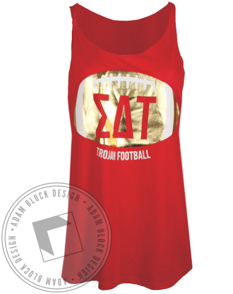 Sigma Delta Tau Gold Football Tank Top-Adam Block Design
