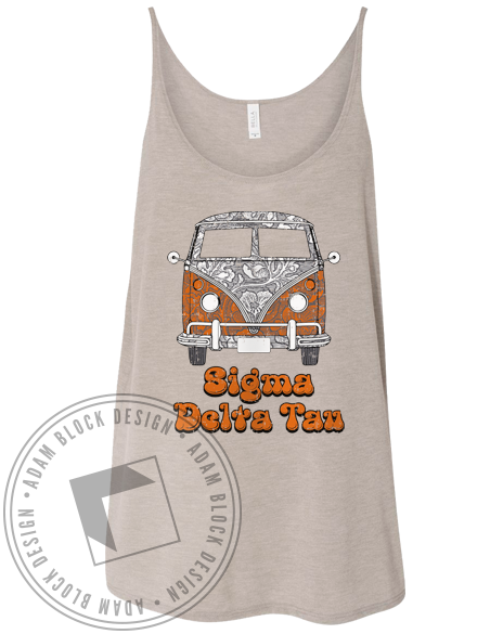 Sigma Delta Tau Groovy Bus Tank Top-Adam Block Design