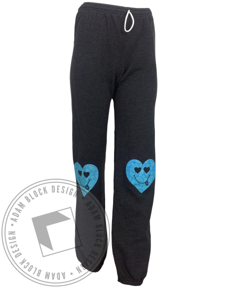 Sigma Delta Tau Happy Face Heart Sweatpants-Adam Block Design