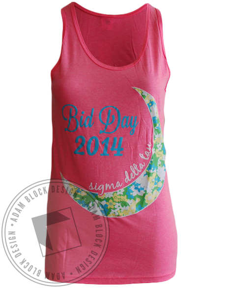 Sigma Delta Tau Moon Bid Day Tank-Adam Block Design