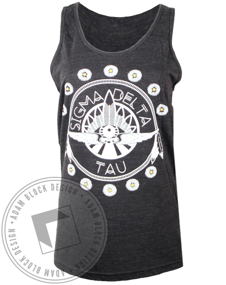 Sigma Delta Tau Native Feather Tank Top-Adam Block Design