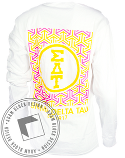 Sigma Delta Tau Pattern Long Sleeve-Adam Block Design