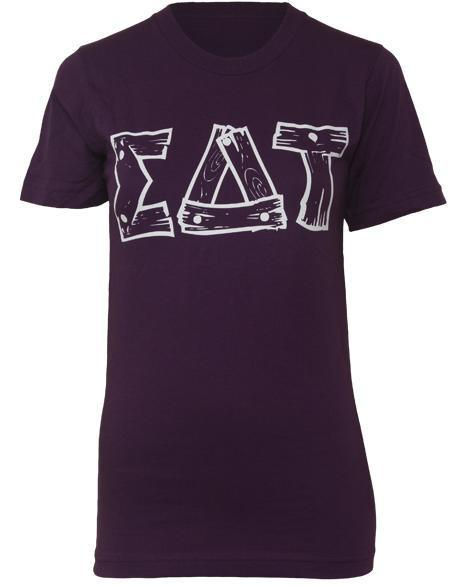 Sigma Delta Tau Philanthropy Wood Tee-Adam Block Design
