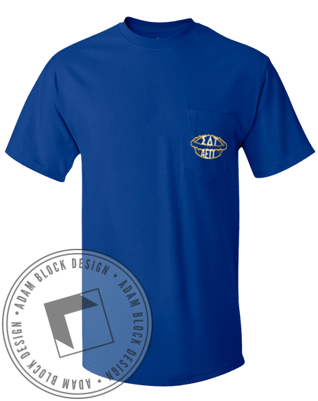 Sigma Delta Tau Pie Pocket Tee-Adam Block Design