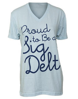 Sigma Delta Tau Proud Pinwheel V-Neck-Adam Block Design
