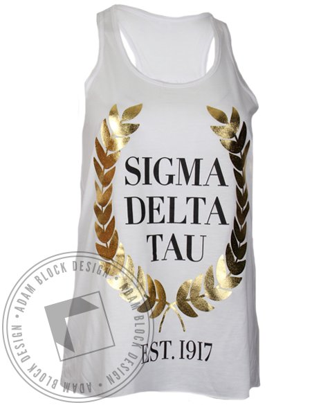 Sigma Delta Tau We Struck Gold Tank Top-Adam Block Design