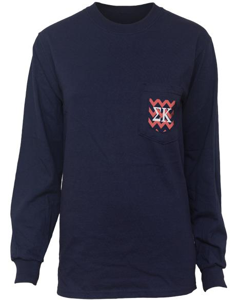 Sigma Kappa Bid Day Chevron Perfection Pocket Long Sleeve T-Shirt-Adam Block Design