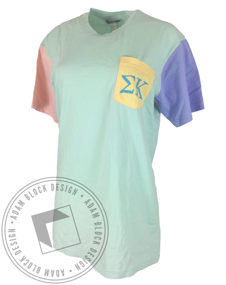 Sigma Kappa Colorblock Pocket Tee-gallery-Adam Block Design
