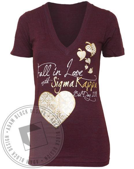 Sigma Kappa Fall In Love V-neck-Adam Block Design