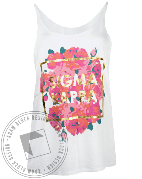 Sigma Kappa Floral Gold Tank Top-Adam Block Design