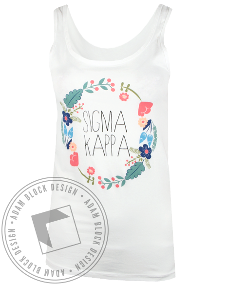 Sigma Kappa Floral Wreath Tank Top-gallery-Adam Block Design