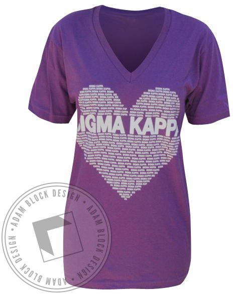 Sigma Kappa Heart V-Neck - Purple-Adam Block Design