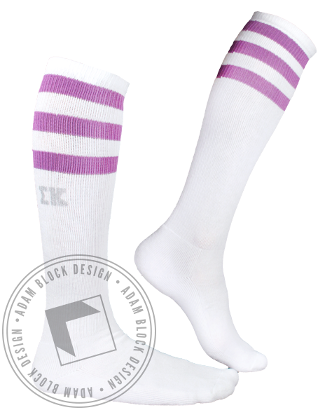 Sigma Kappa Letters Striped Socks-gallery-Adam Block Design
