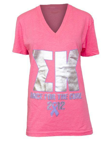 Sigma Kappa Race For The Cure V-Neck-Adam Block Design