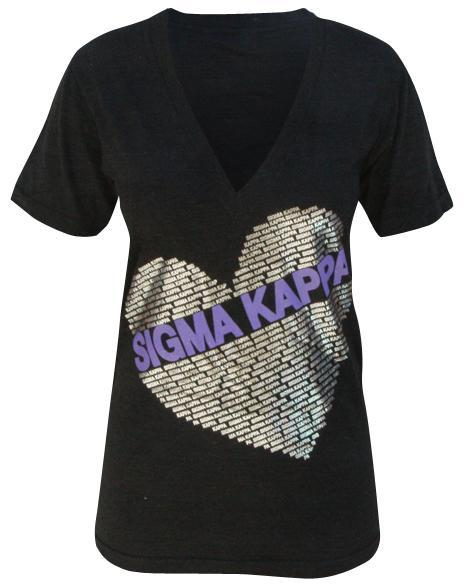 Sigma Kappa Silver Dove V-Neck-gallery-Adam Block Design