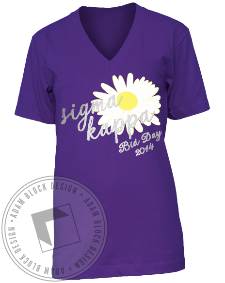 Sigma Kappa Sunflower V-Neck-Adam Block Design