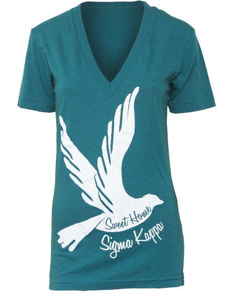 Sigma Kappa Sweet Home Dove V-neck-Adam Block Design
