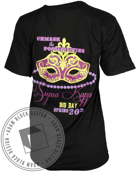 Sigma Kappa Unmask The Possibilities Tee-Adam Block Design