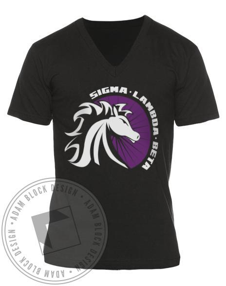 Sigma Lambda Beta Stallion V-neck-Adam Block Design