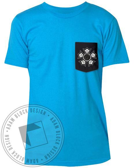 Sigma Nu Badge Contrast Custom Pocket Tee-Adam Block Design