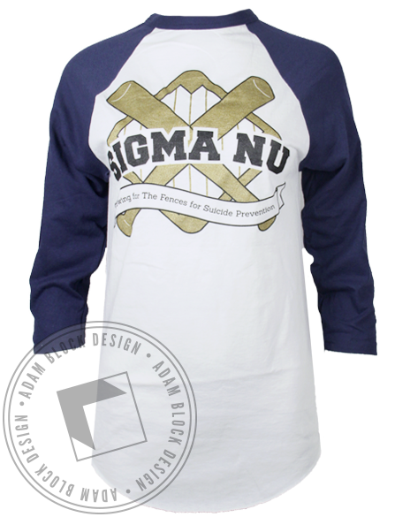 Sigma Nu Philanthropy Baseball Tee-Adam Block Design