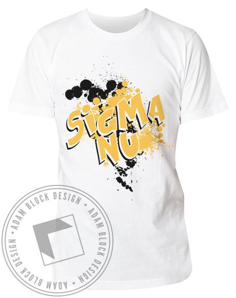 Sigma Nu Splatter Shirt-Adam Block Design
