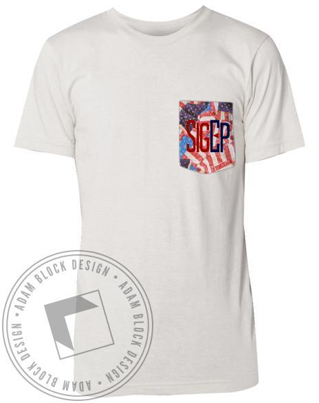 Sigma Phi Epsilon Flag Custom Pocket Tee-Adam Block Design