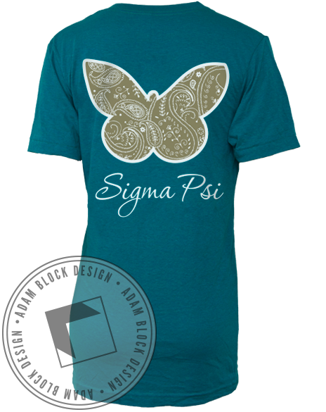 Sigma Psi Butterfly V-Neck-gallery-Adam Block Design