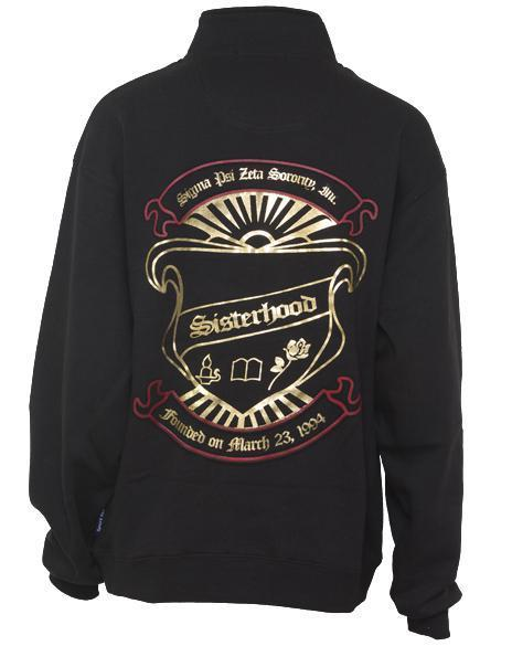 Sigma Psi Zeta Crest Half-Zip-Adam Block Design