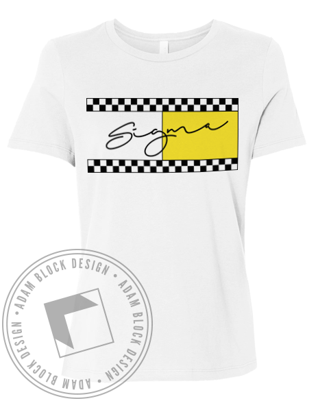 Sigma Sigma Sigma Checkered Tee-Adam Block Design