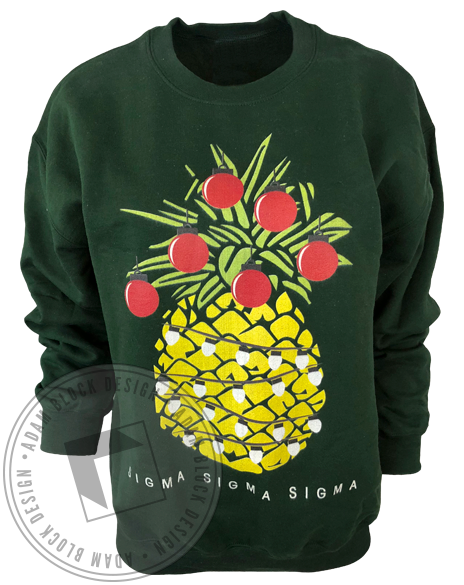 Sigma Sigma Sigma Christmas Pineapple Sweatshirt-gallery-Adam Block Design