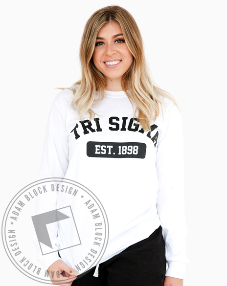 Sigma Sigma Sigma Established 1898 Longsleeve-Adam Block Design