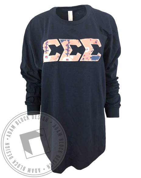 Sigma Sigma Sigma Fabric Letter Long Sleeve-gallery-Adam Block Design