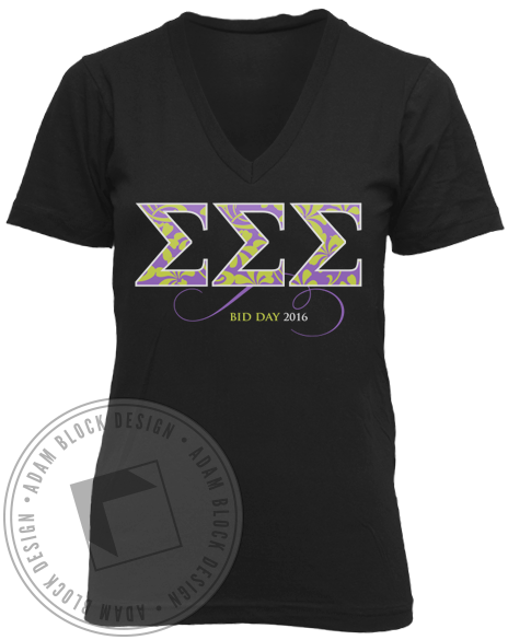 Sigma Sigma Sigma Fell For The Best Vneck-gallery-Adam Block Design