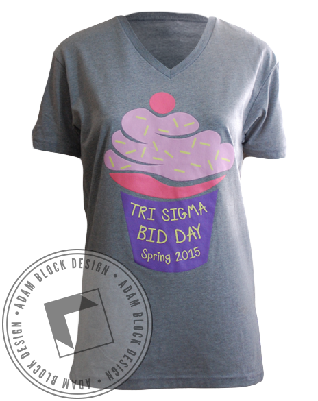 Sigma Sigma Sigma Ice Cream V-Neck-Adam Block Design