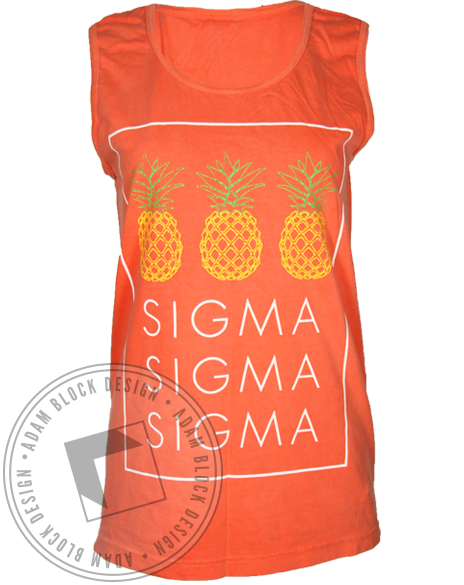 Sigma Sigma Sigma Pineapples Tank Top-Adam Block Design