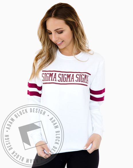 Sigma Sigma Sigma Striped Sweatshirt-Adam Block Design